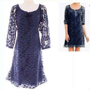 16 XL 1X▪️NAVY BLUE BOHEME EASY LACE DRESS Plus Sz